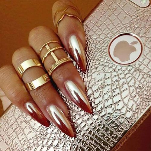 Chrome Nails Is A Latest Technique Adopted By All The Leading Ladies