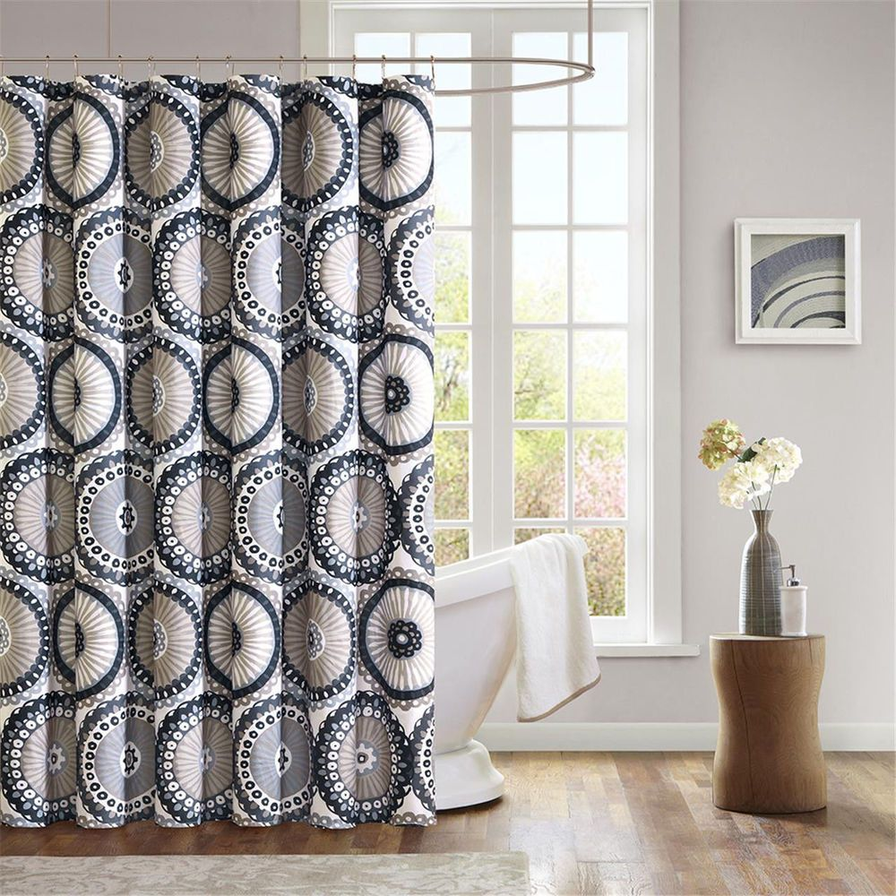 Mizone Shower Curtain Polyester Black Gray Taupe Circles