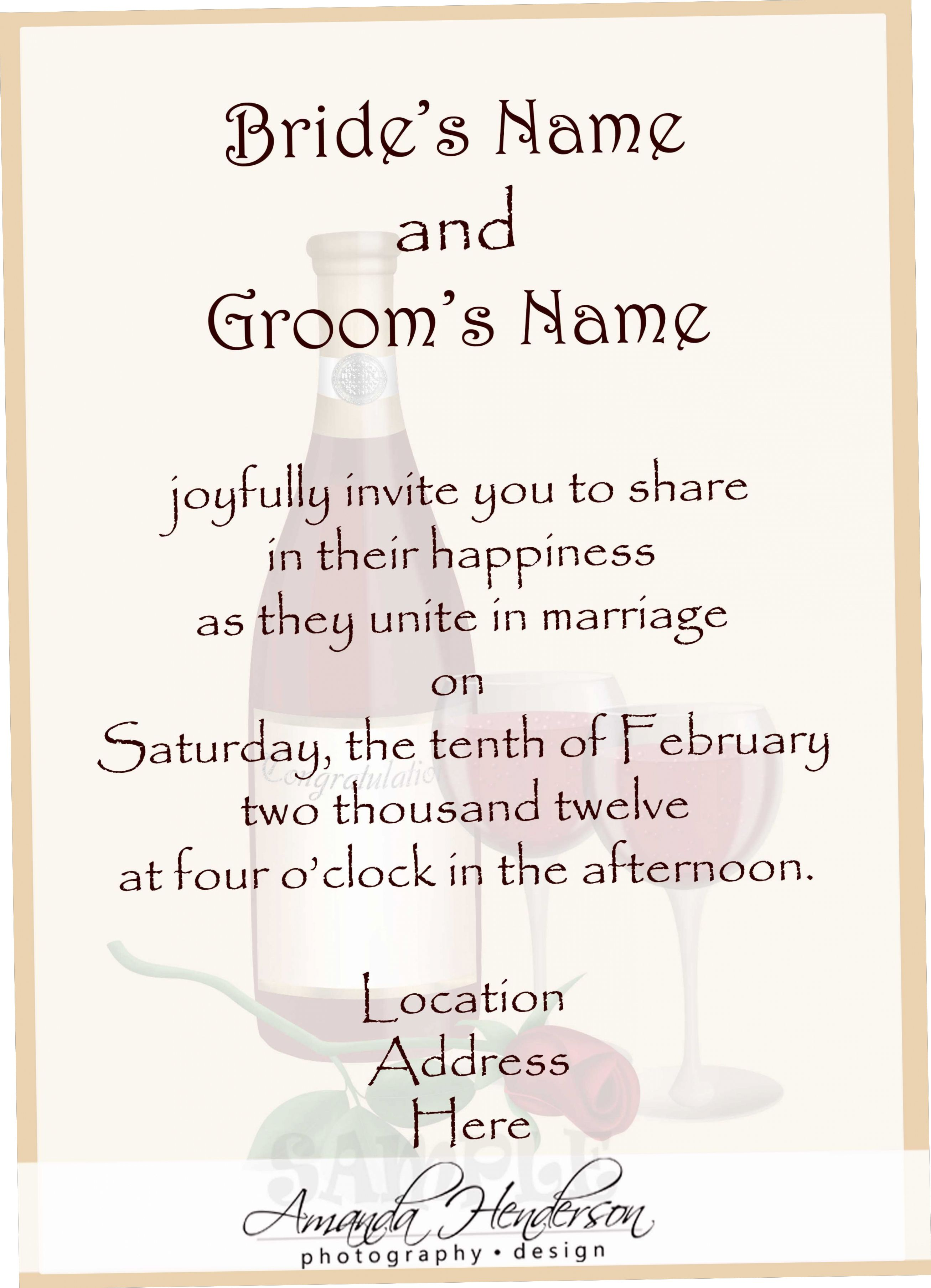 Sample Wording For Wedding Invitations Wedding