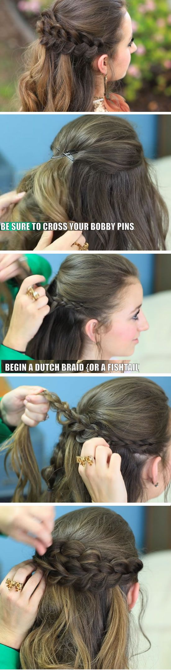 Braided half up quick diy prom hairstyles for medium hair and easy homecoming long also rh pinterest