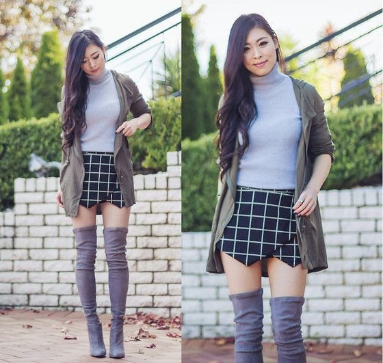Stelly Clothing Anorak Jacket, Tobi Skort, Witchery Knit, Witchery Over The Knee Boots