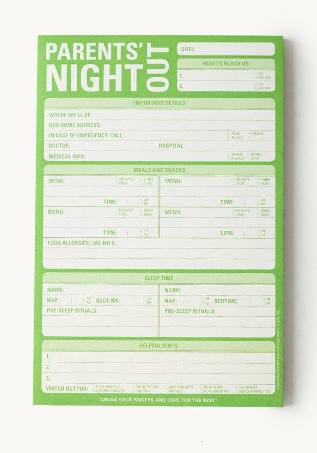 Parents\u0027 Night Out Notepad G R O W N Pinterest Parent night