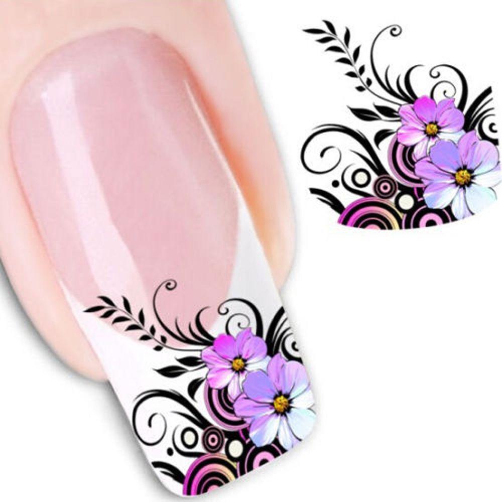 Nail Art Flower Sticker Water Transfer Stickers Decals Uv Gel Tips