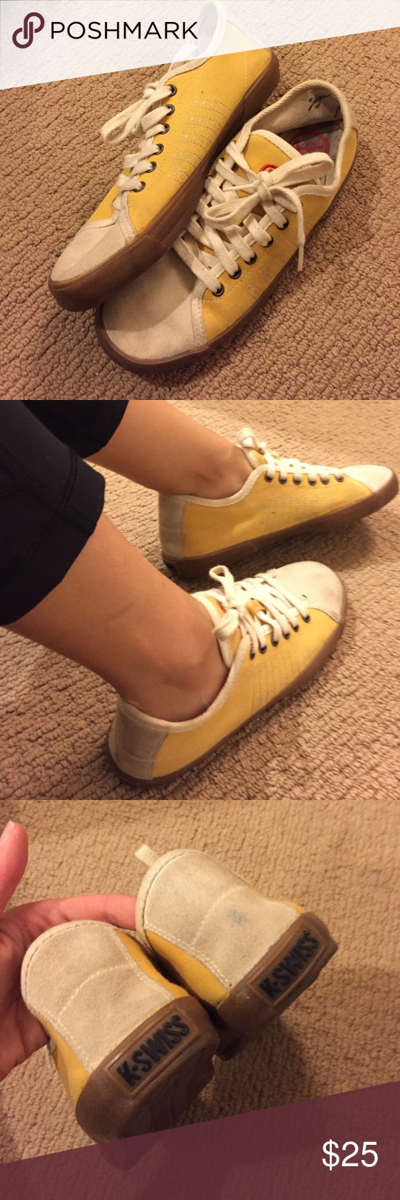 Yigel Azrouel for K-Swiss sneakers. These are super cute! I wore them a handful of times, there is a bit of dirt on the leather... but they're like new aside from that (the soles aren't worn at all). Make an offer! Size 7 K-Swiss Shoes Sneakers
