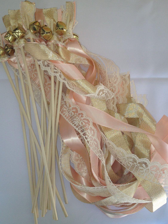 50 Wedding Wands Lace Gold Silver Bells Ribbon Birthday Party Barn Farm Rustic Shabby Chic vintage. $66.00, via Etsy.