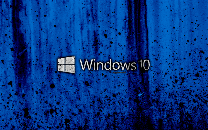 Download Wallpapers Windows 10 4k Creative Logo Grunge Blue Background Windows 10 Logo Microsoft Besthqwallpapers Com Windows 10 Wallpaper Windows 10 Dark Wallpaper