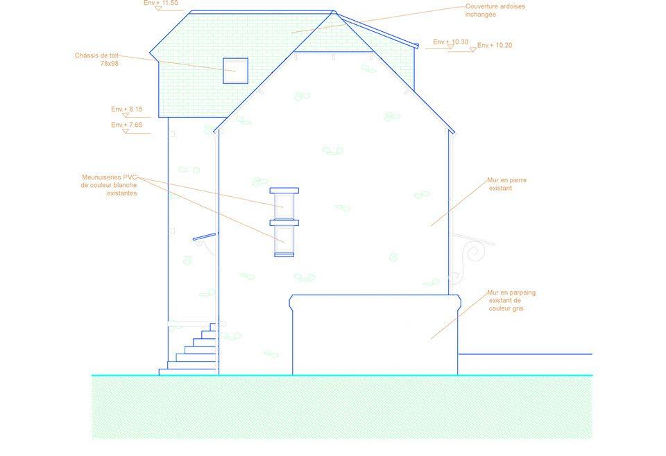 Vue de côté du0027une maison pour lu0027insertion du0027une fenêtre de toit - plan maison avec cotation