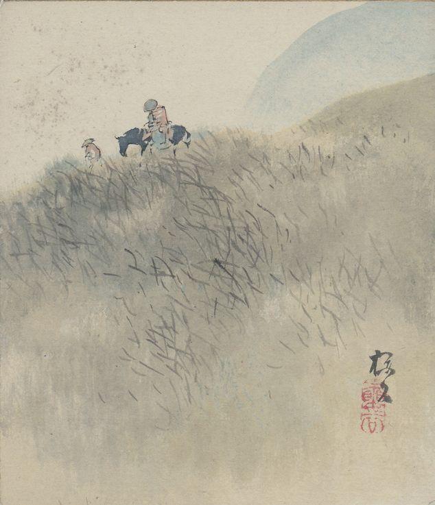 Okoku Konoshima 木島桜谷 (1877−1938), shikishi (paint board).