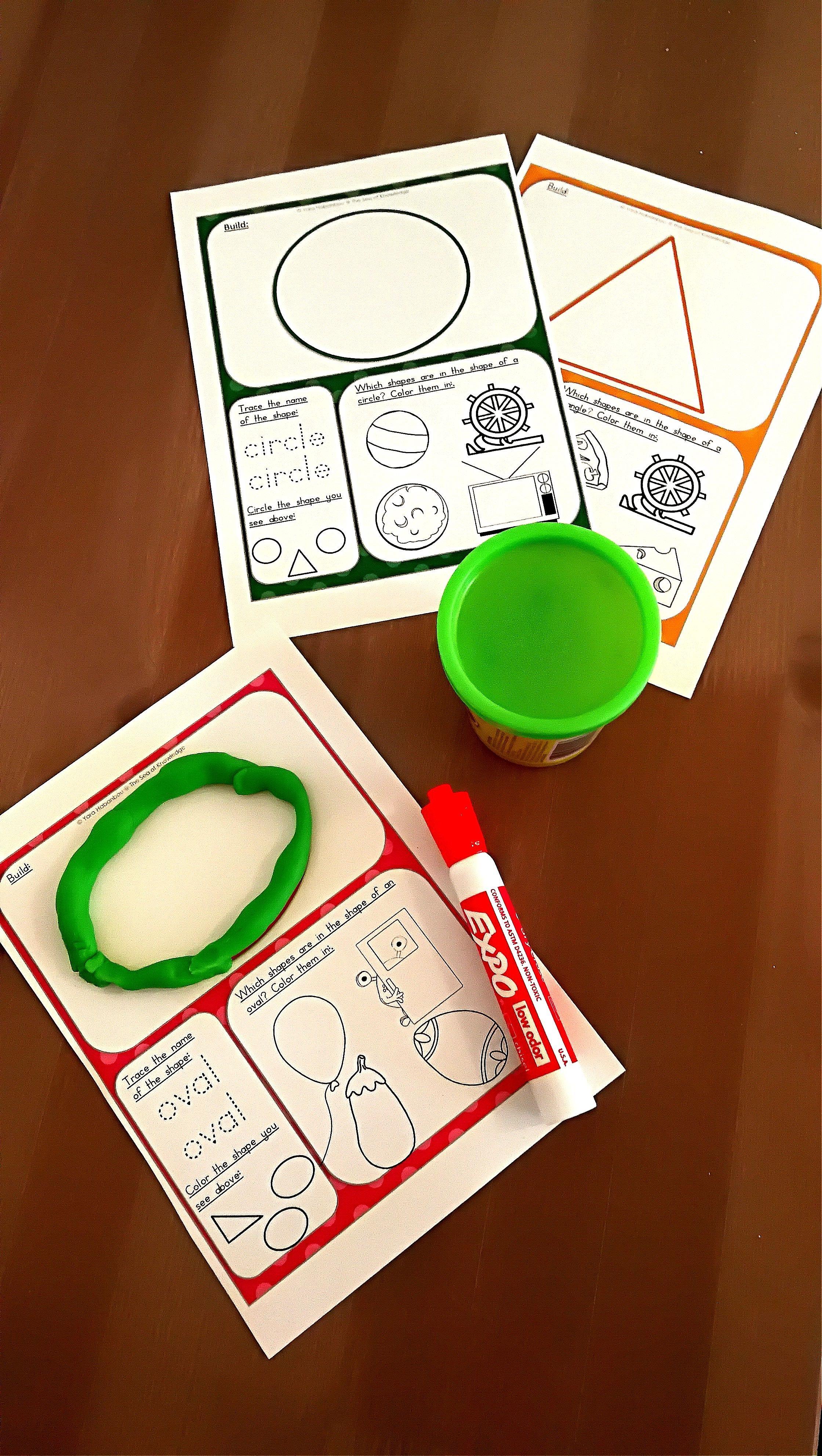 2d Shapes Worksheets Dough Mats