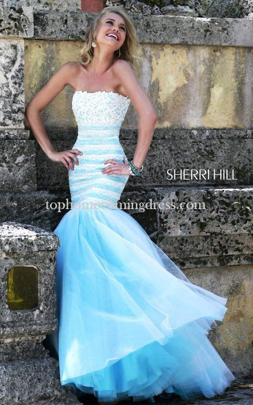 2015 Sherri Hill 11154 Beaded White Blue Lace Gown