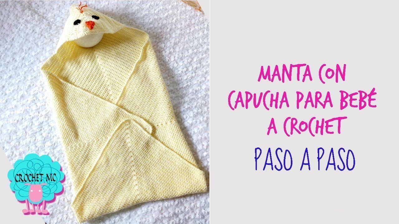 Tutorial manta con capucha a crochet - pollito - YouTube | Colchas ...