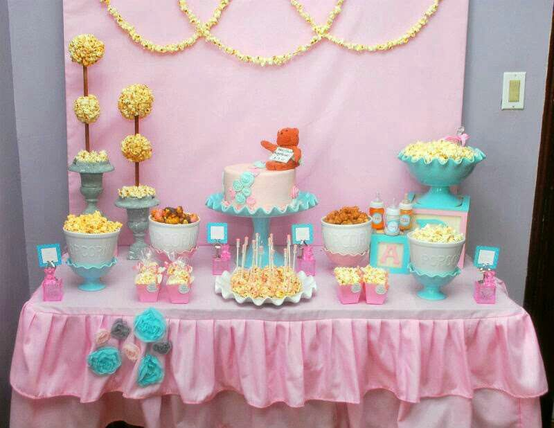 Pin By Nur Salina On Decor Rumah Taman Baby Shower Popcorn Baby Shower Decorations Girl Baby Shower Decorations