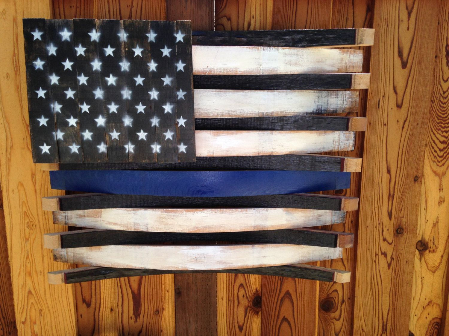 Wine Barrel Wall Art custom, handcrafted, rustic, hand painted, thin blue line american