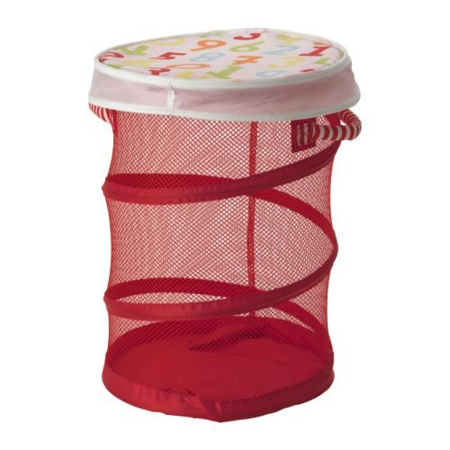 KUSINER Mesh basket with lid IKEA <-- small, but perfect size for baby's laundry!  A full basket fits perfectly as a full load of laundry in the washer/dryer.
