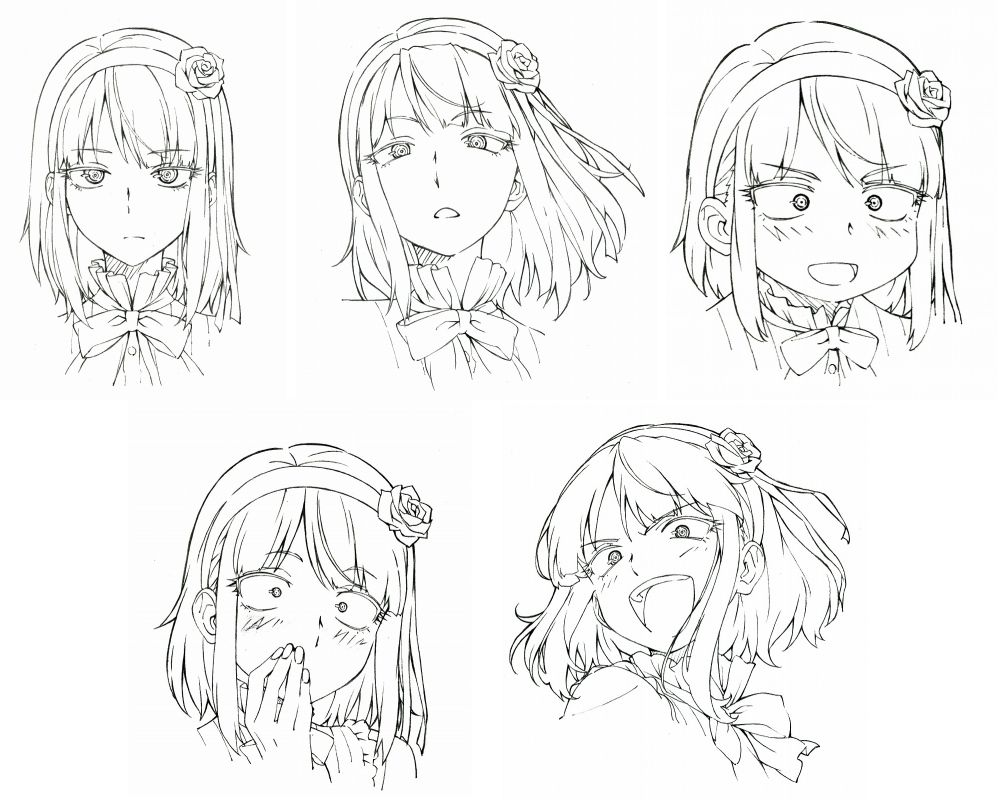 anime reference sheets/ character settei 顔 絵, 表情 イラスト