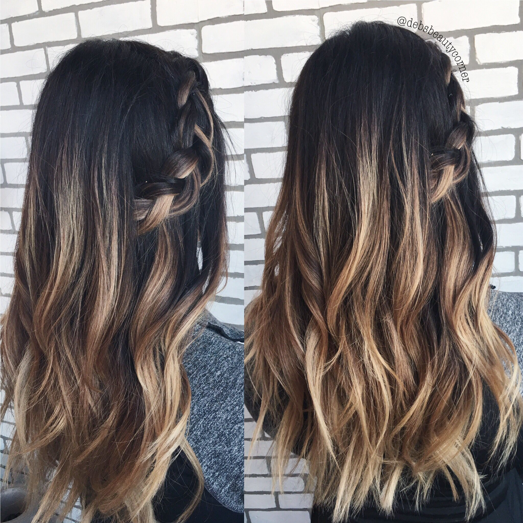 High contrast balayage, Dark brown hair with caramel ...