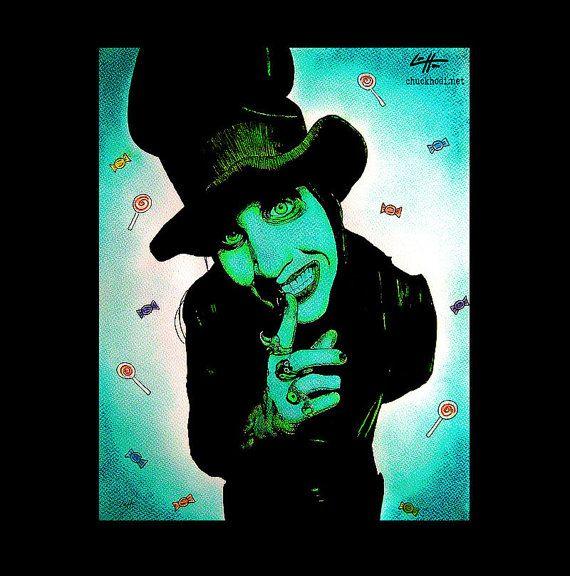 Print 8x10  Marilyn Manson  Top Hat Pop Art Spooky by chuckhodi, $10.00