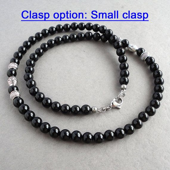 Black Onyx Mens Necklace Handmade Onyx Jewelry for Men Guys Dads