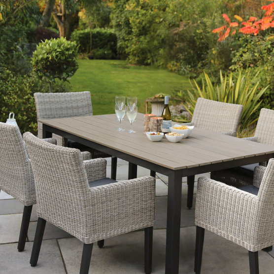 Bretagne 6 Seat Dining Set Small Patio Furniture Contemporary Garden Furniture Outdoor Dining Furniture