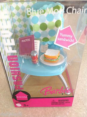 Barbie Doll Fashion Fever Blue Mod Chair Food Furniture New 2005 Retired Set #barbiefurniture