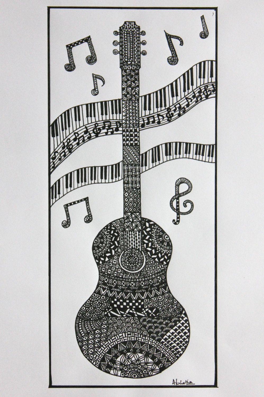 Color zen music - Guitar Zentangle Music Zentangle Art Doodle A2artsandcreativity