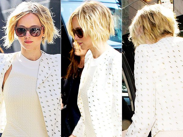 Jennifer Lawrence S Pixie Is Growing Out Into A Bob See It From All Angles Jennifer Lawrence Hair Growing Out Short Hair Styles Jennifer Lawrence Short Hair