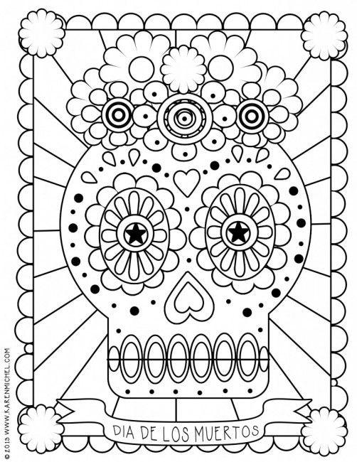 - Dia De Los Muertos Coloring Page Skull Coloring Pages, Coloring Books, Coloring  Pages