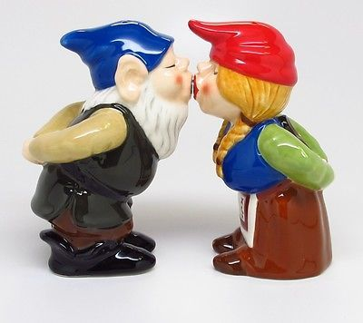Gnomes Ceramic Salt U0026 Pepper Shaker Set Magnetic Gnomes.