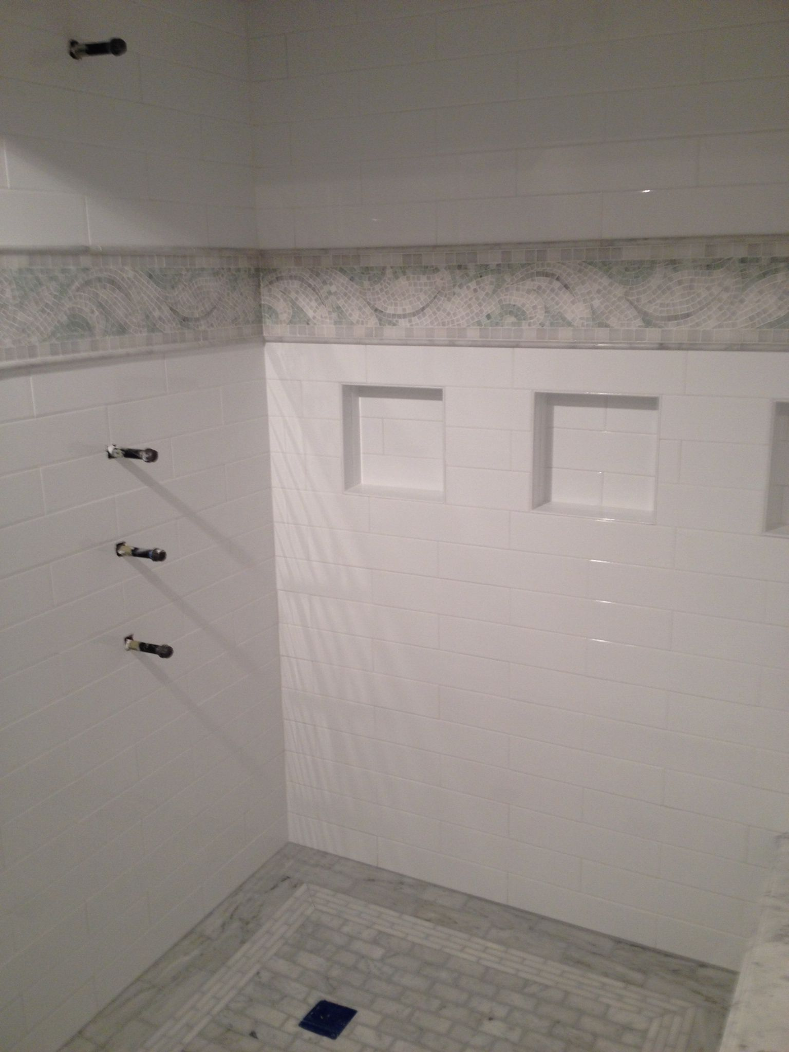 Master bath remodel in wellesley ma with 4x16 subway tile White border tiles bathrooms