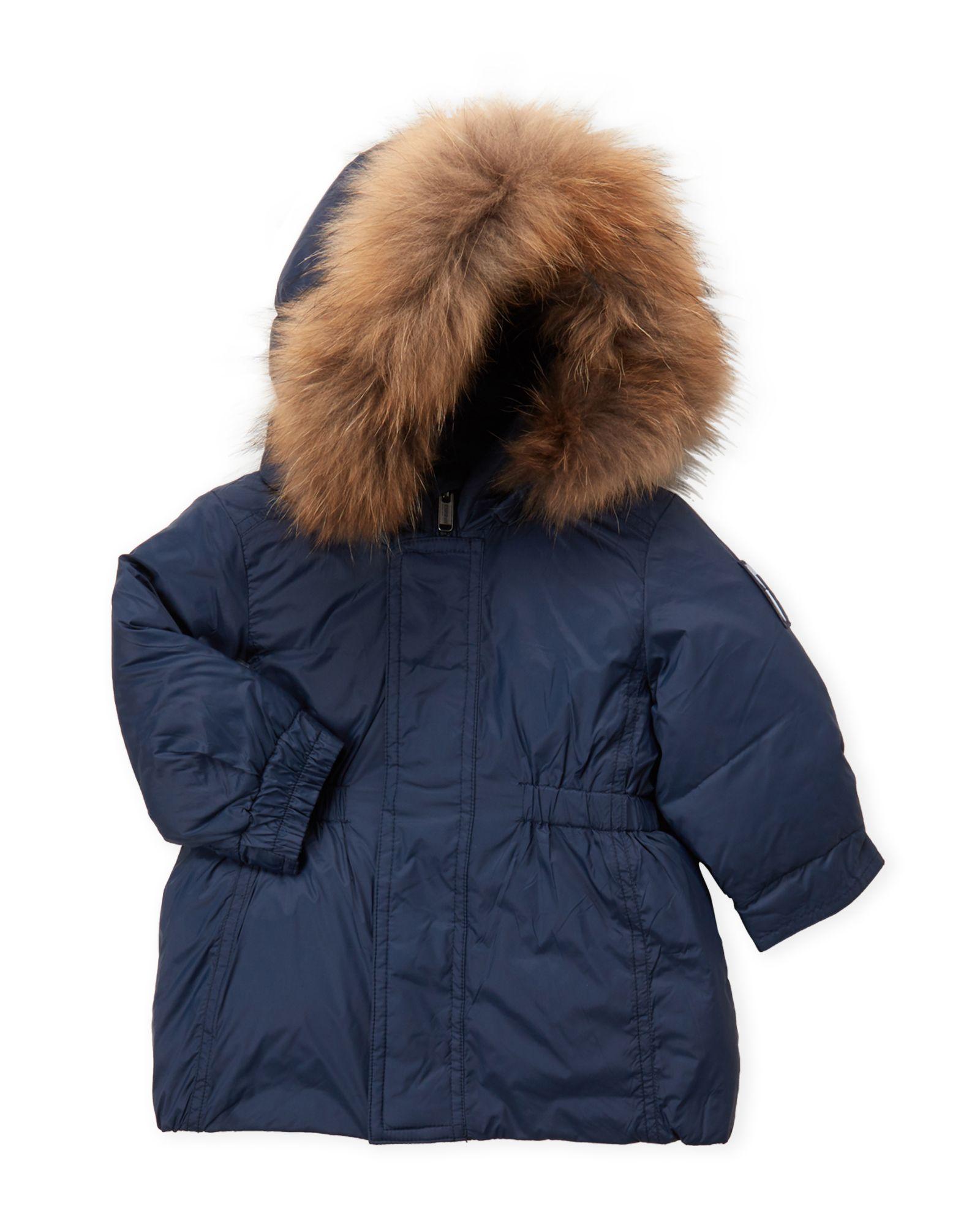 1843c1b8b Bomboogie (Infant Boys) Navy Real Fur Trim Hooded Down Coat ...
