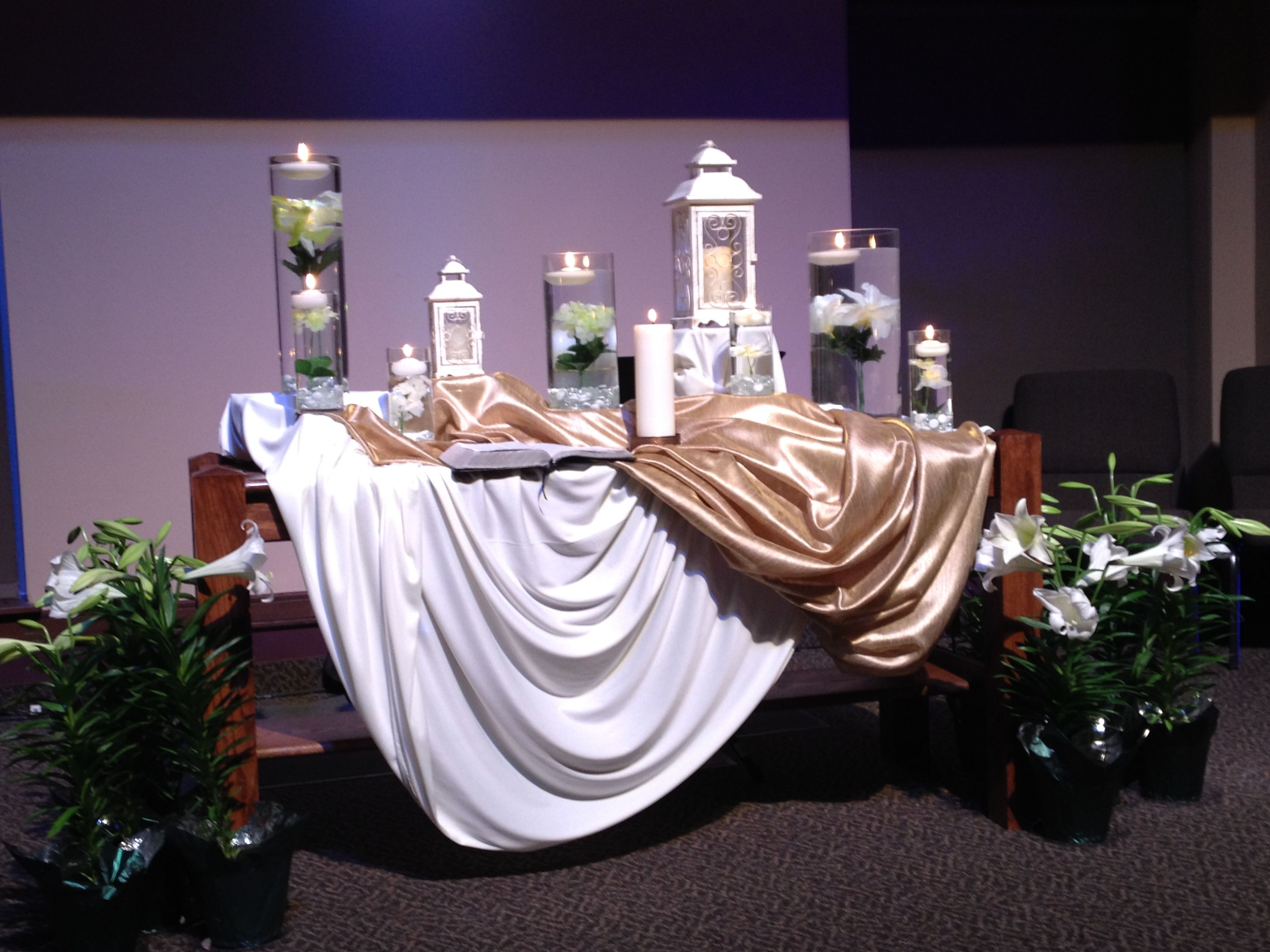 Easter Decorating Ideas For Church church communion table decorated for memorial day | holiday time