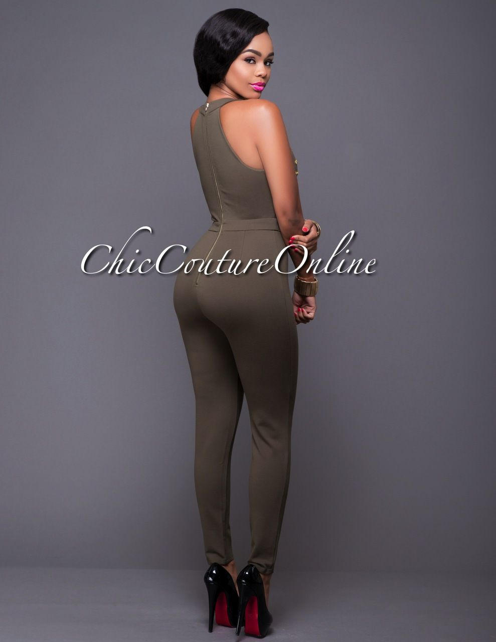 Chic Couture Online - Nightwalker Olive Green Gold Studded Jumpsuit.(http://www.chiccoutureonline.com/nightwalker-olive-green-gold-studded-jumpsuit/)