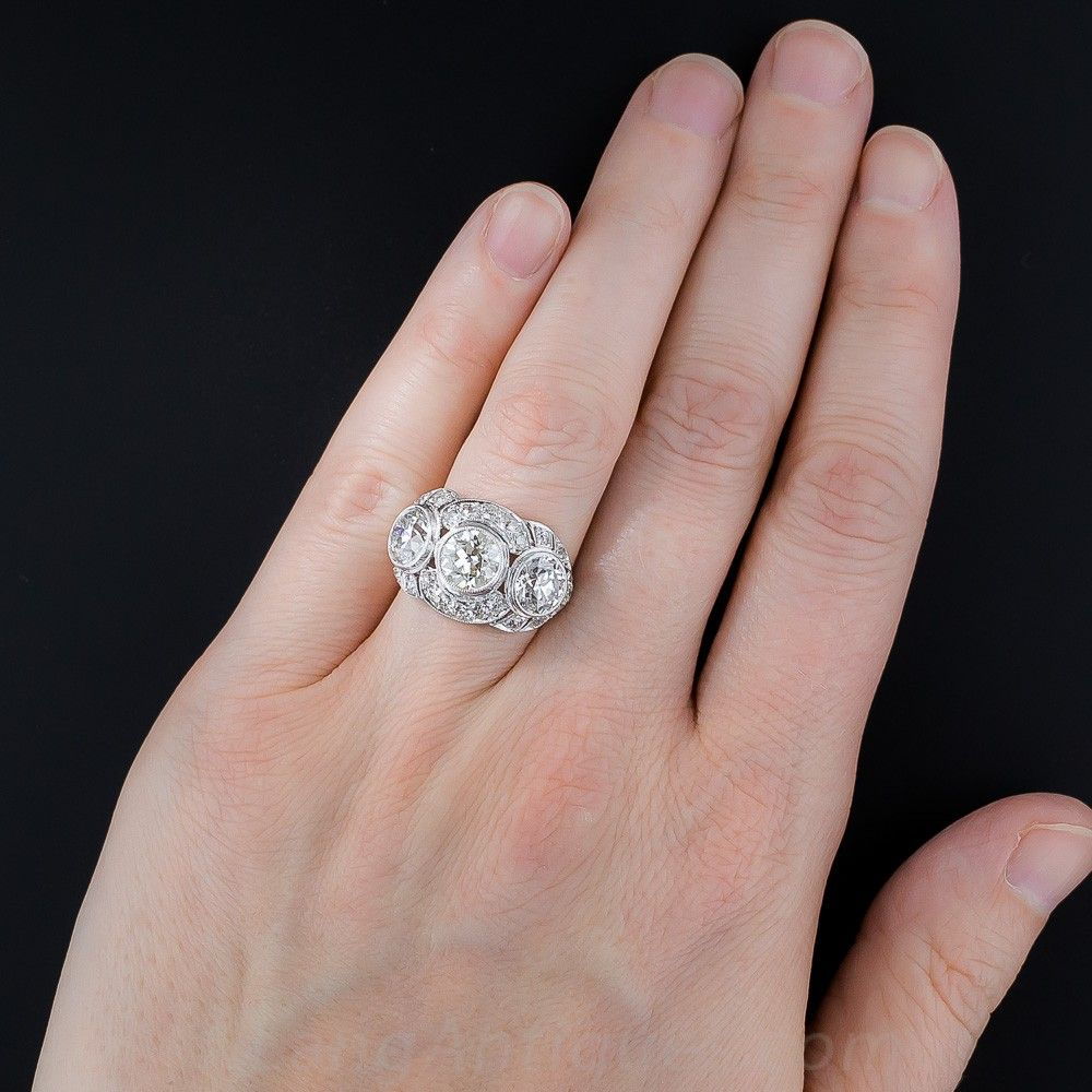 3.65 Carat Diamond and Platinum Art Deco Three-Stone Ring - Shop for ...