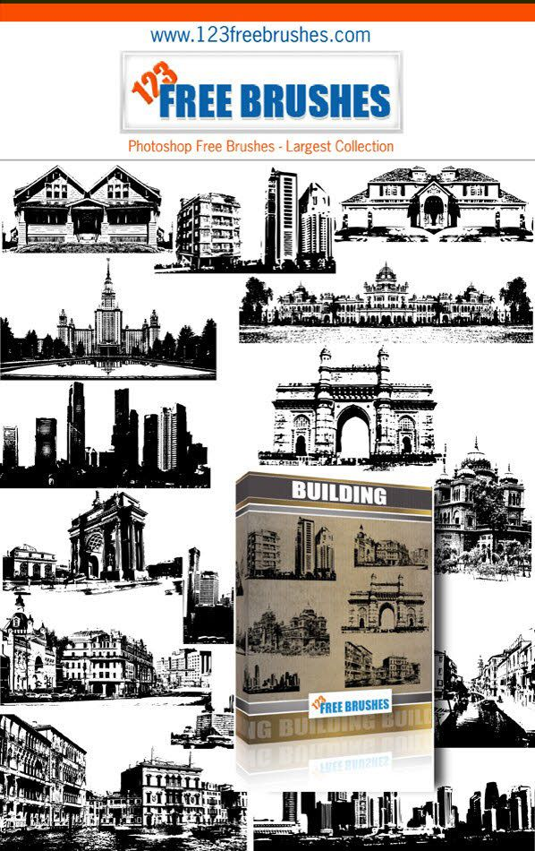 Buildings Free Vector and Photoshop Brushes Pack Photoshop