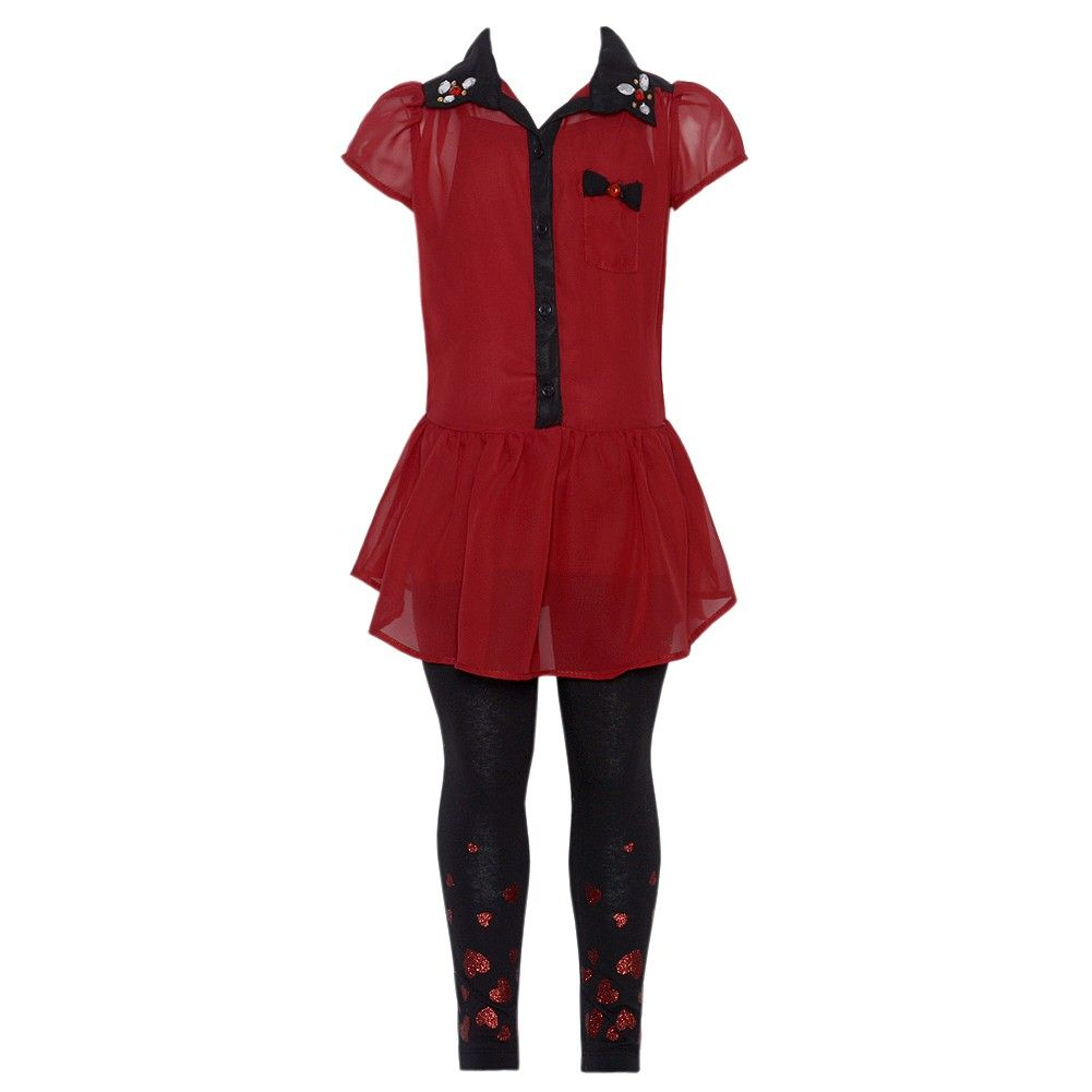0a22a25bac7d A fashionable tunic and legging set for your girl from RMLA! The red  skirted tunic