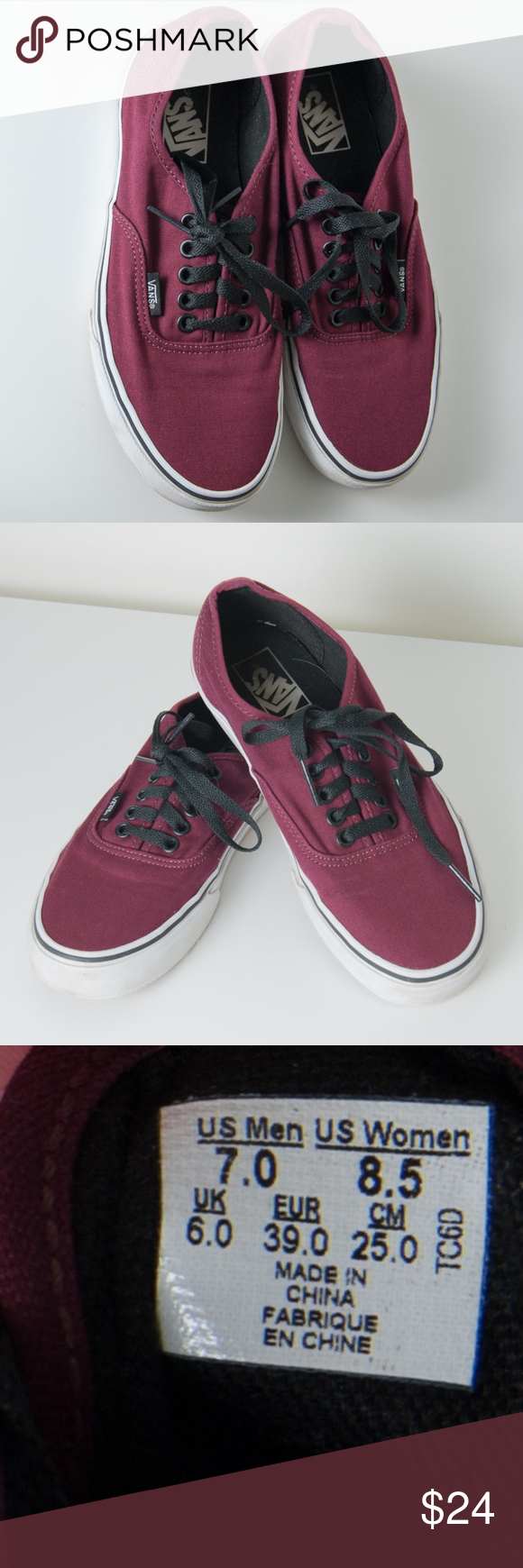 d0650c6a56b1 Vans Tennis Shoes Maroon Mens 7   Womens 8.5 Preloved but good condition  Vans Off The Wall Skate shoes. Maroon or burgundy canvas upper.