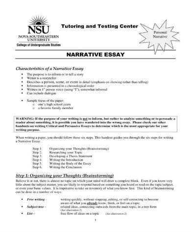 model narrative essay