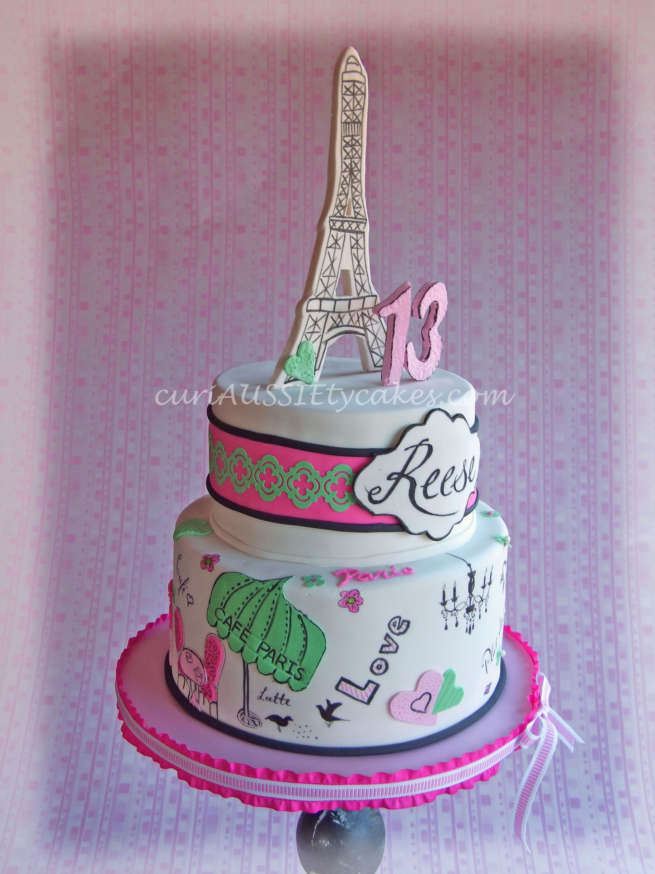 Paris Them 13th Birthday Cake Reeses Bedroom Is Also Paris Themed
