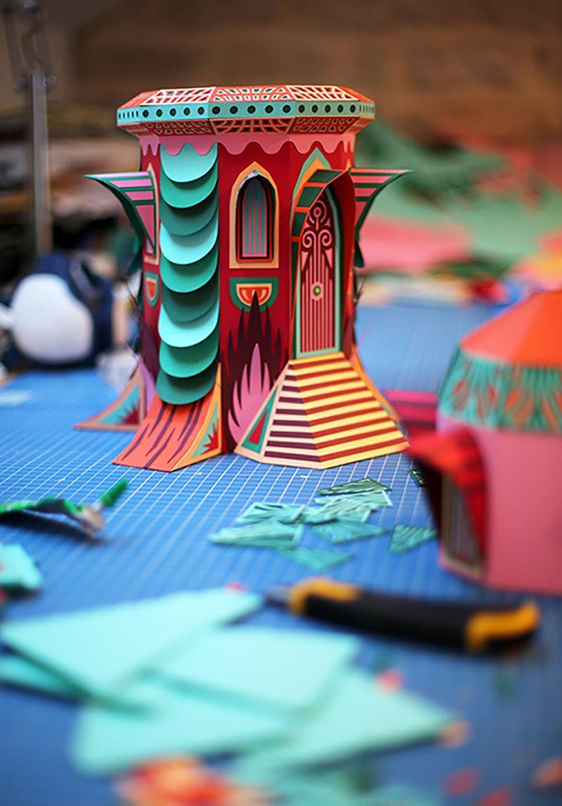 zim & zou crafts a paper woodland wonderland for Hermès windows in