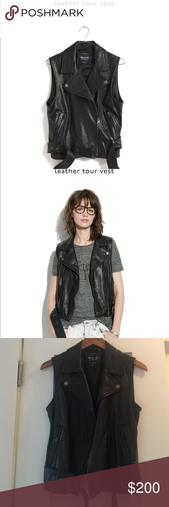 Madewell Leather Tour Vest Madewell leather, Madewell