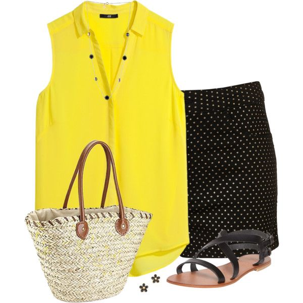 """""""Yellow Sleeveless Top"""" by daiscat on Polyvore"""
