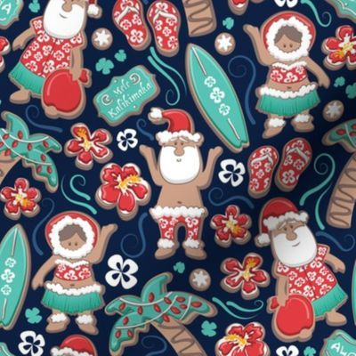 Small scale // Mele Kalikimaka Hawaiian - Spoonflower #Christmas #christmasfabric #christmaspattern #surfacepattern #gingerbread #MeleKalikimaka #Hawaiianfabric #HawaiianChristmas #Hawaiianpattern #Hawaiian #Hawaii