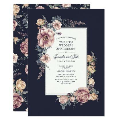 Navy And Mauve Vintage Floral Wedding Anniversary Invitation Zazzle Com Vintage Floral Wedding Invitations Vintage Wedding Invitations Floral Bridal Shower Invitations
