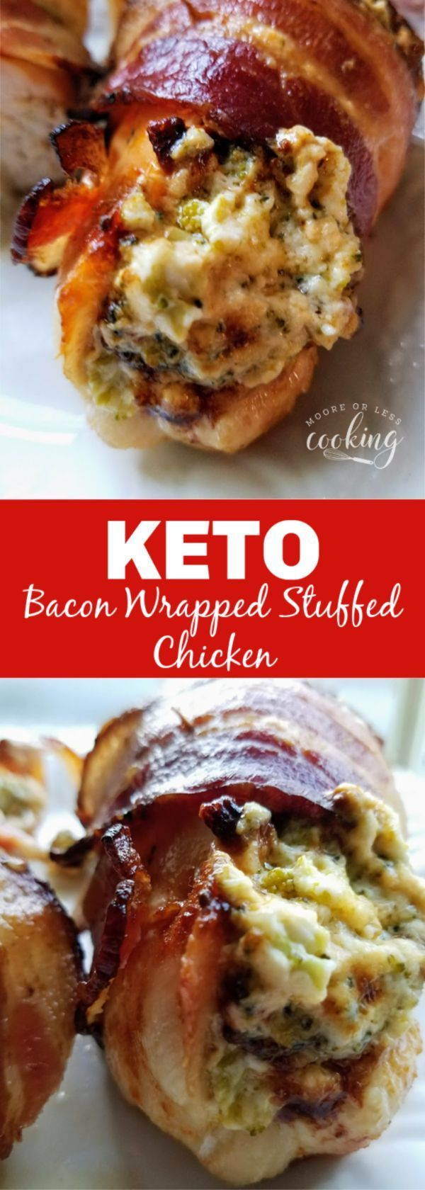Incredibly moist and flavorful Keto Stuffed Bacon Wrapped Chicken. Broccoli and cheese stuffed chic
