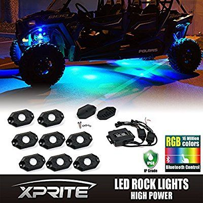 Xprite 3rd-Gen 8 Pods Multicolor Neon LED Light Kit RGB LED Rock Lights with Bluetooth Controller For Timing, Music Mode, Flashing