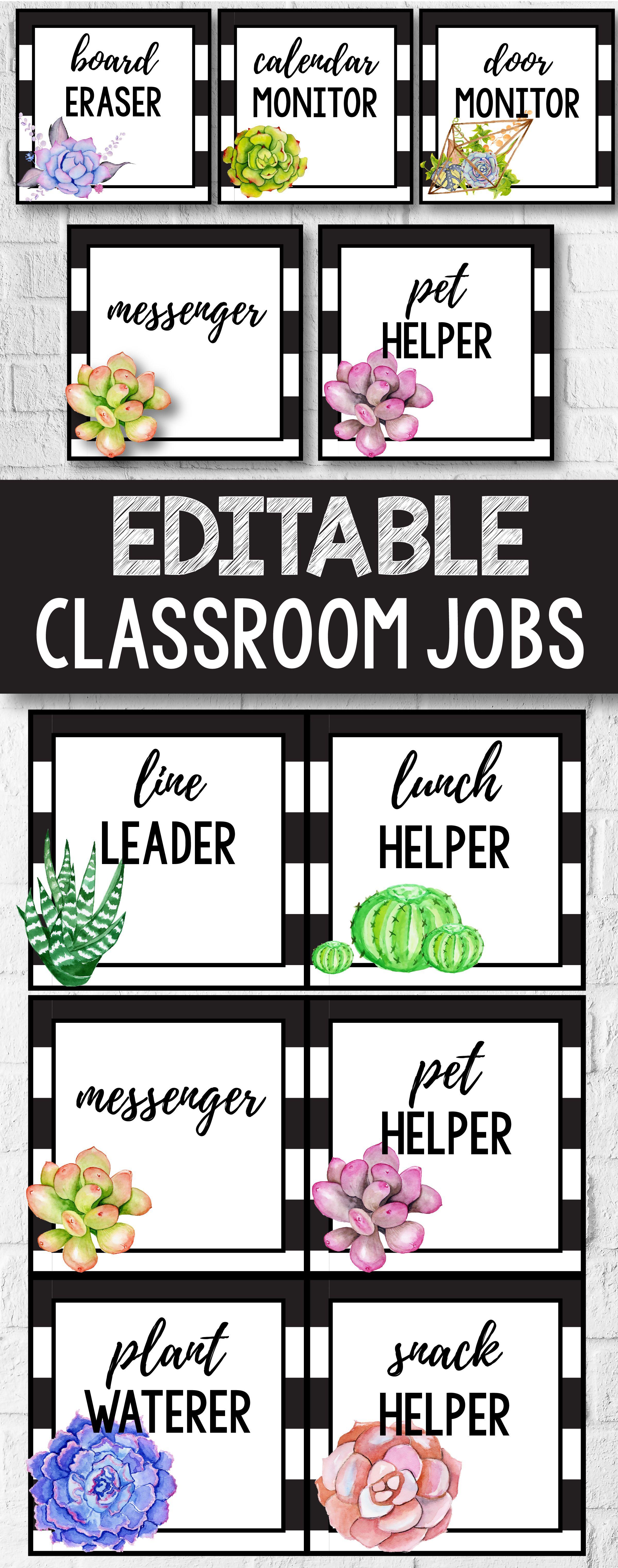 Modern Classroom Jobs ~ Editable classroom jobs class cactus