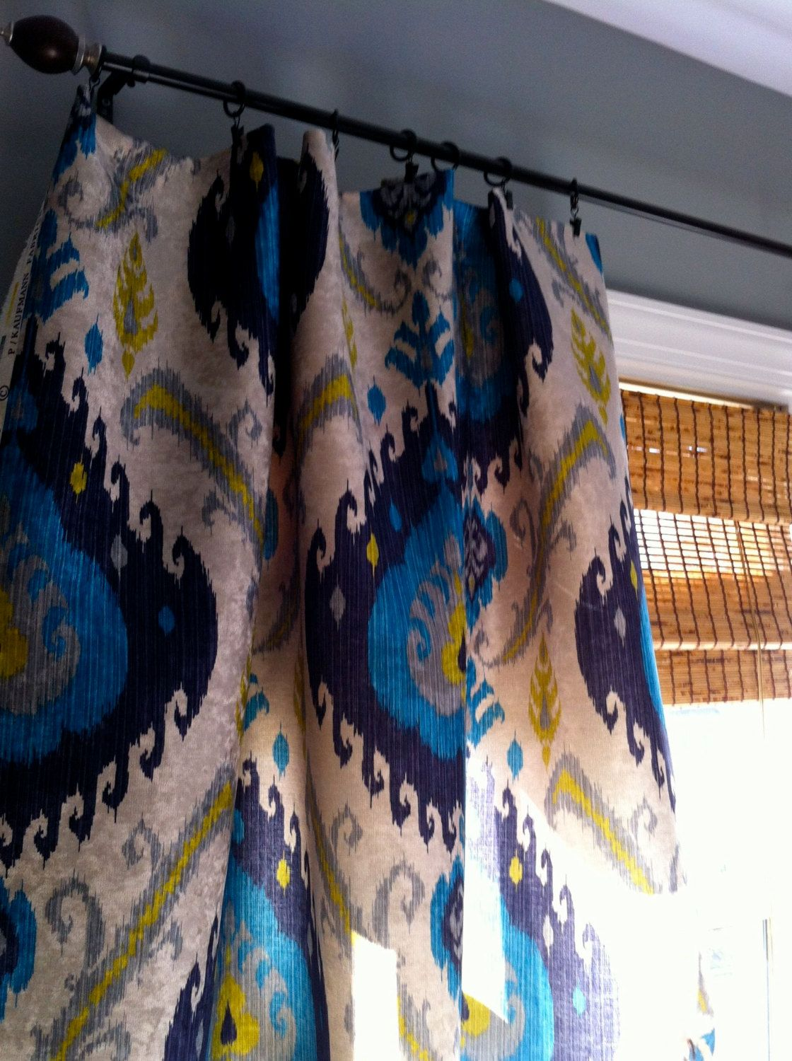 Peacock Blue Living Room: Peacock Blue Grey Yellow And Ivory Ikat Velvet By