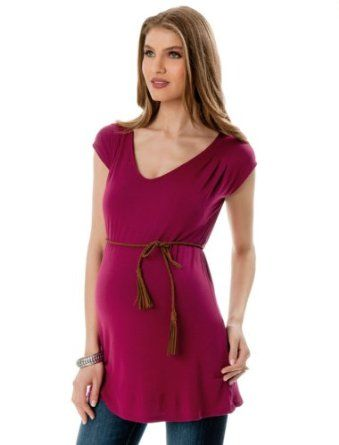 A Pea in the Pod: Short Sleeve V-neck Pleated Maternity T Shirt A Pea in the Pod. $39.99