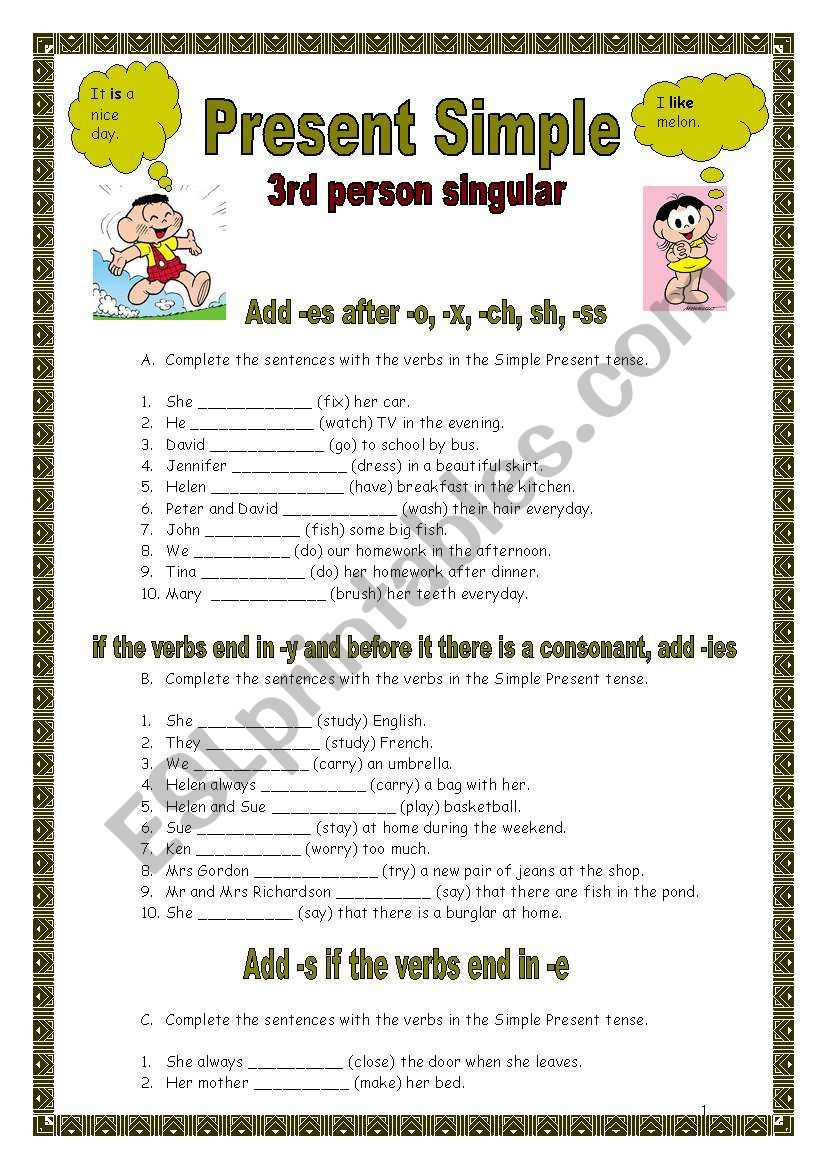 Present Simple 3rd Person Singular Rules And Exercises Simple Present Tense Grammar Worksheets Simple Present Tense Worksheets [ 1169 x 821 Pixel ]