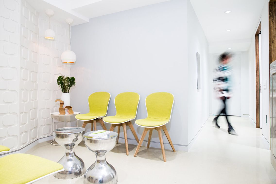 Dermatology office by studiogreener featuring BoConcept Adelaide chairs.Love the yellow pop of color against & Dermatology office by studiogreener featuring BoConcept Adelaide ...